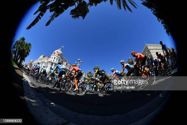 Nelson Oliveira of Portugal and Movistar Team / Matteo Trentin of Italy and CCC Team / Christopher Juul Jensen of Denmark and Team Mitchelton - Scott...