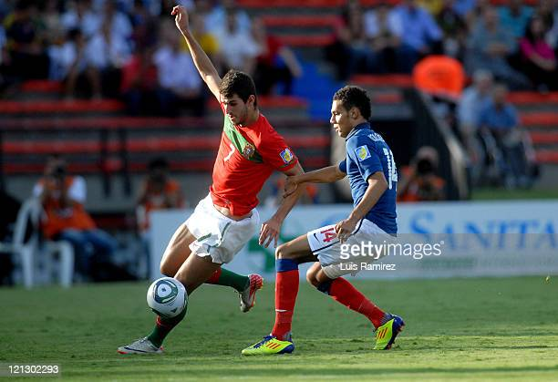 Nelson Oliveira of Portugal conducts the ball during a match for the semifinals between France and Portugal as part of the FIFA U-20 World Cup 2011...