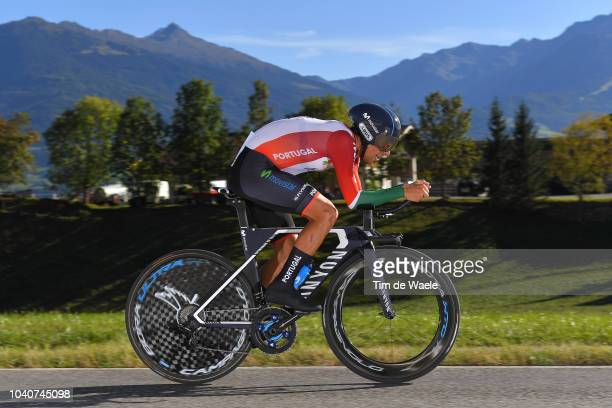 Nelson Oliveira of Portugal / during the Men Elite Individual Time Trial a 525km race from Rattenberg to Innsbruck 582m at the 91st UCI Road World...
