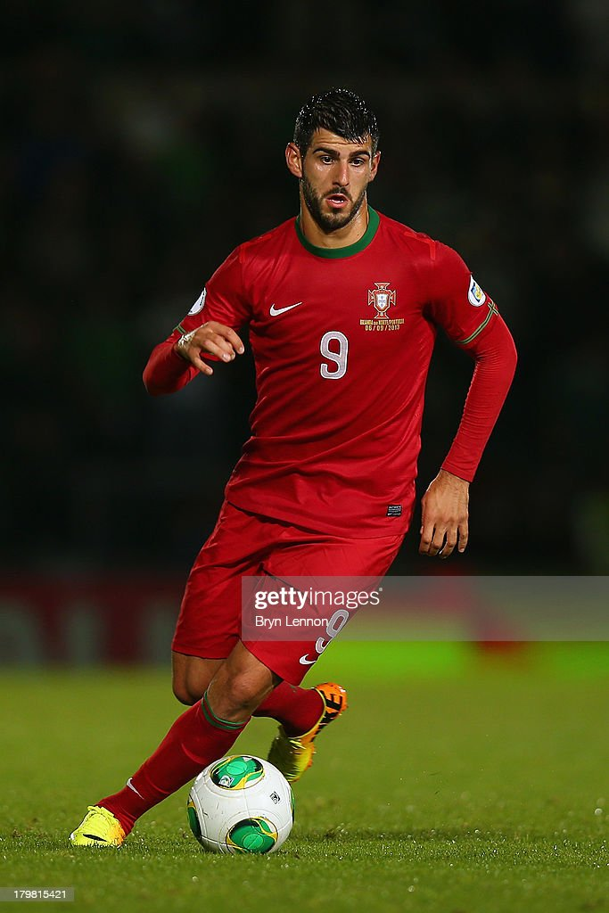 Nelson Oliveira of Portugal in action during the FIFA 2014 World Cup Qualifying Group F match between Northern Ireland and Portugal at Windsor Park on September 6, 2013 in Belfast, Northern Ireland.