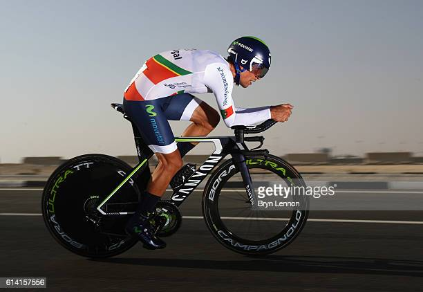 Nelson Oliveira of Portugal rides during the Men's Elite Individual Time Trial on Day Four of the UCI Road World Championships at Lusail Sports...