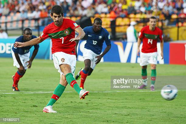 Nelson Oliveira of Portugal scores his team's second goal with a penalty during the FIFA U20 World Cup 2011 semi final match between France and...