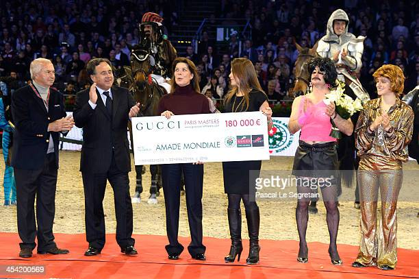 Nelson Pessoa Pieter Bogaardt Princess Caroline of Hanover Fernanda Ameeuw Thierry Rozier and Electra Niarchos pose during the awards cerenomy of the...