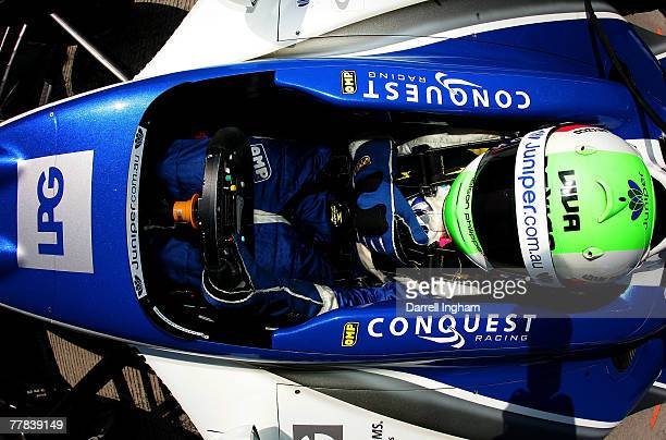 Nelson Philippe driver of the Conquest Racing Panoz DP01 sits in his car during practice for the ChampCar World Series Grand Premio Tecate on...