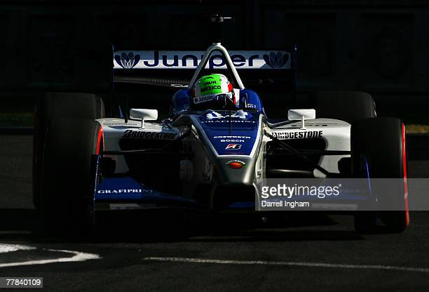 Nelson Philippe drives the Conquest Racing Panoz DP01 during practice for the ChampCar World Series Grand Premio Tecate on November 10 2007 at the...