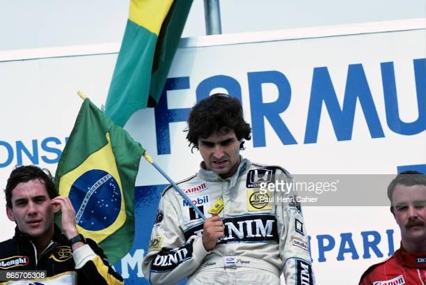 Nelson Piquet, Ayrton Senna, Nigel Mansell, Grand Prix of Germany, Hockenheimring, 27 July 1986.