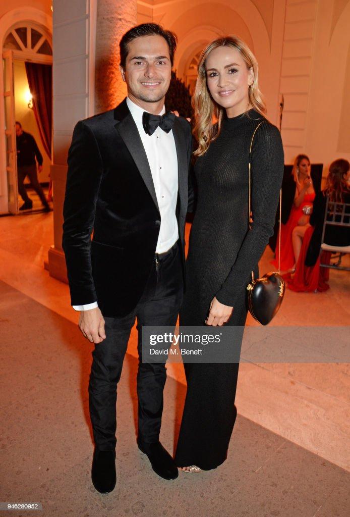 Nelson Piquet Jr (L) and Carmen Jorda attend the ABB FIA Formula E Gala Dinner hosted by Bulgari at Villa Miani on April 14, 2018 in Rome, Italy.