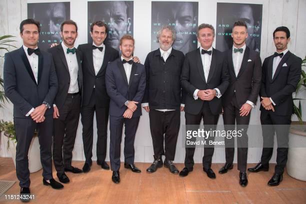 Nelson Piquet Jr., Jean-Eric Vergne, Alberto Longo, Sam Bird, Malcolm Venville, Alejandro Agag, André Lotterer and Lucas di Grassi attend a cocktail...