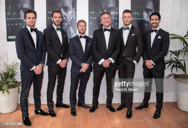 Nelson Piquet Jr., Jean-Eric Vergne, Sam Bird, Alejandro Agag, André Lotterer and Lucas di Grassi attend a cocktail party hosted by Alejandro Agag...
