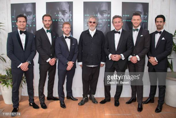 Nelson Piquet Jr JeanEric Vergne Sam Bird Malcolm Venville Alejandro Agag André Lotterer and Lucas di Grassi attend a cocktail party hosted by...