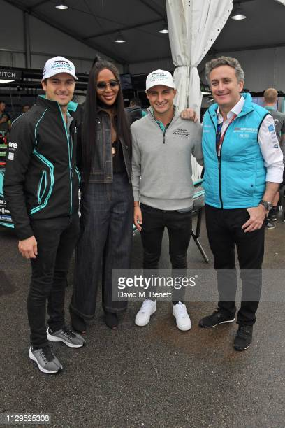 Nelson Piquet Jr Naomi Campbell Mitch Evans and Formula E CEO Alejandro Agag attend the ABB FIA Formula E HKT Hong Kong EPrix on March 10 2019 in...