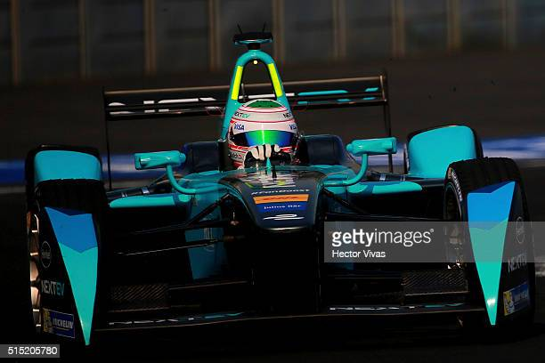 Nelson Piquet Jr of Brazil and Nextev TCR during the Mexico City Formula E Championship 2016 at Autodromo Hermanos Rodriguez on March12, 2016 in...