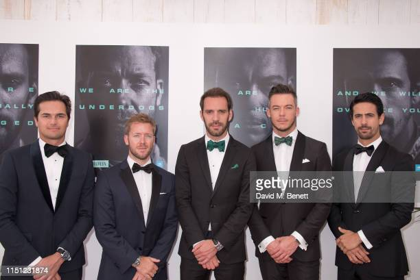 Nelson Piquet Jr Sam Bird JeanEric Vergne André Lotterer and Lucas di Grassi attend a cocktail party hosted by Alejandro Agag ahead of the World...