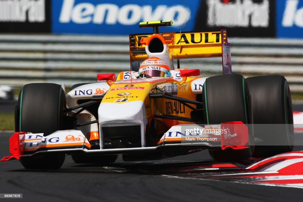 Nelson Piquet of Brazil and Renault drives during the Hungarian Formula One Grand Prix at the Hungaroring on July 26, 2009 in Budapest, Hungary.