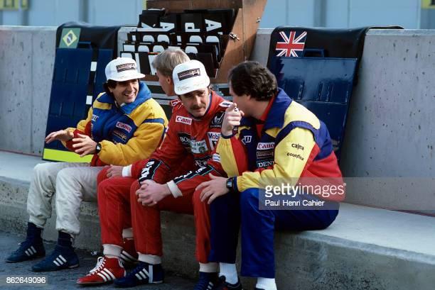 Nelson Piquet, Stefan Johansson, Nigel Mansell, Frank Dernie, Grand Prix of Spain, Circuito de Jerez, 13 April 1986. Nelson Piquet talking to Stefan...