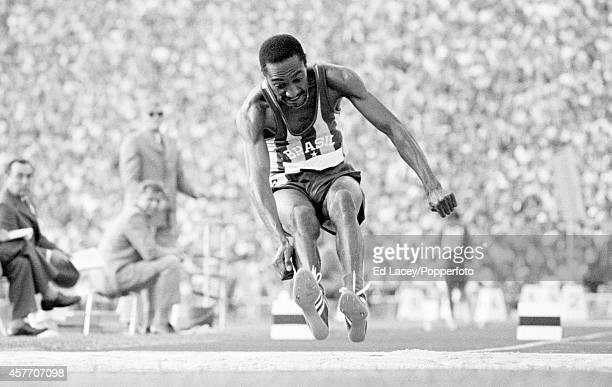 Nelson Prudencio of Brazil bronze medallist in the men's triple jump in action during the Summer Olympic Games in Munich circa September 1972