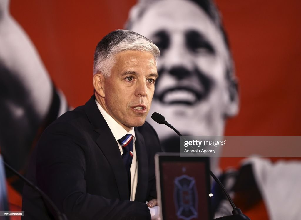 Nelson Rodriguez, general manager of Chicago Fire speaks as Schweinsteiger is introduced at The PrivateBank Fire Pitch in Chicago, Illinois, USA, 29 March 2017. Schweinsteiger comes to the Fire from Manchester United.