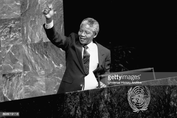 Nelson Rolihlahla Mandela South African antiapartheid politician served as President of South Africa from 1994 to 1999 Seen here addressing the UN...