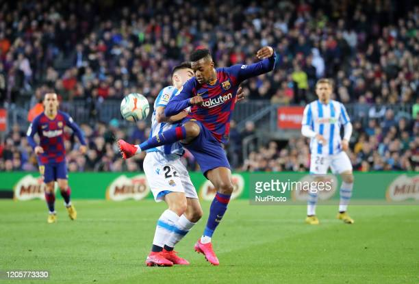 Nelson Semedo and Ander Barrenetxea during the match between FC Barcelona and Real Sociedad corresponding to the week 27 of the Liga Santander played...