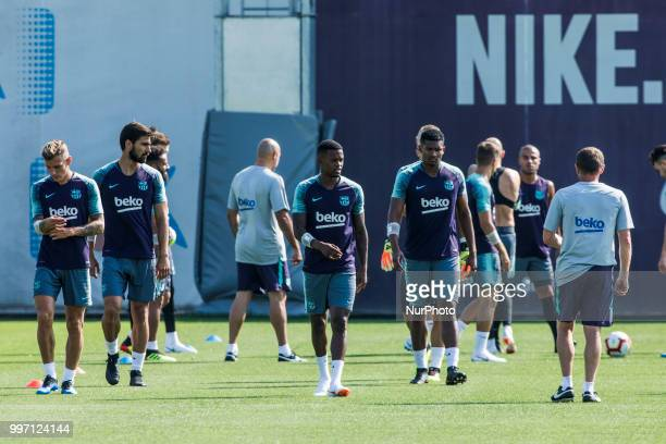 Nelson Semedo from Portugal and Marlon Santos from Brasil during the first FC Barcelona training session of the 2018/2019 La Liga pre season in...