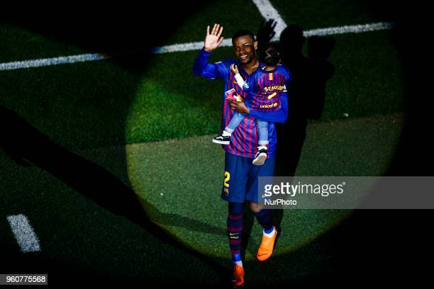 02 Nelson Semedo from Portugal of FC Barcelona and his daughter during the Andres Iniesta farewell at the end of the La Liga football match between...