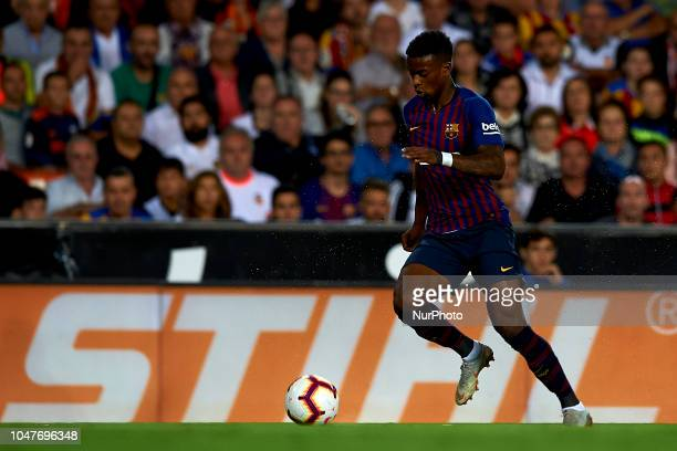 Nelson Semedo in action during the week 8 of La Liga match between Valencia CF and FC Barcelona at Mestalla Stadium in Valencia Spain on October 7...