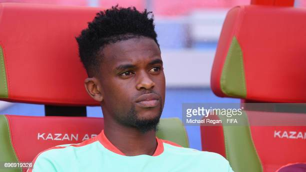Nelson Semedo looks on during the Portugal Training and Press Conference on June 17 2017 in Kazan Russia