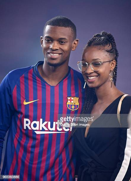 Nelson Semedo of Barcelona and his wife Marlene Alvarenga at the end of the La Liga match between Barcelona and Real Sociedad at Camp Nou on May 20...