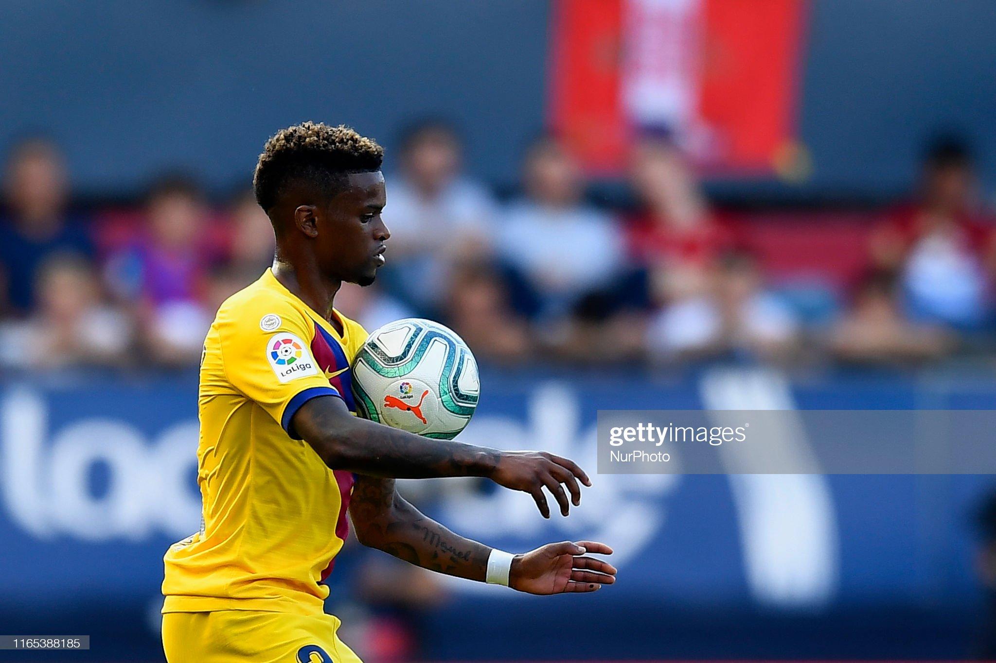 صور مباراة : أوساسونا - برشلونة 2-2 ( 31-08-2019 )  Nelson-semedo-of-barcelona-controls-the-ball-during-the-liga-match-picture-id1165388185?s=2048x2048