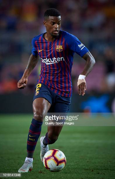Nelson Semedo of Barcelona in action during the La Liga match between FC Barcelona and Deportivo Alaves at Camp Nou on August 18 2018 in Barcelona...