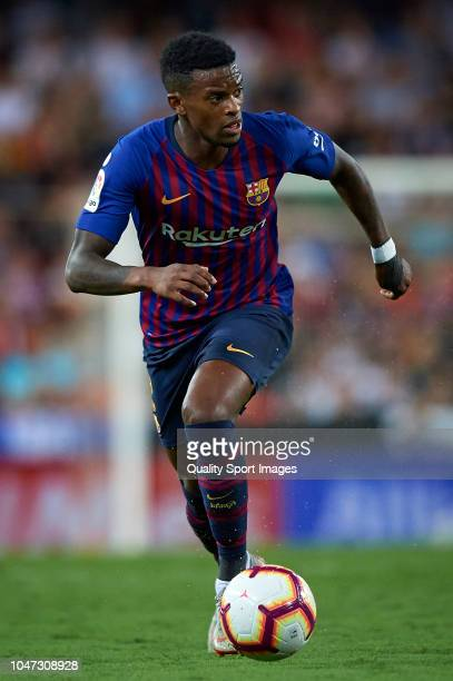 Nelson Semedo of Barcelona in action during the La Liga match between Valencia CF and FC Barcelona at Estadio Mestalla on October 7 2018 in Valencia...
