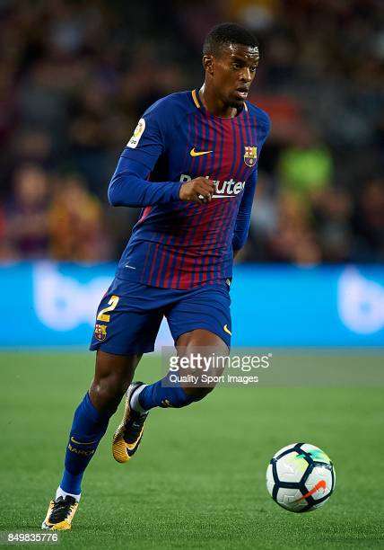 Nelson Semedo of Barcelona in action during the La Liga match between Barcelona and Eibar at Camp Nou on September 19 2017 in Barcelona Spain