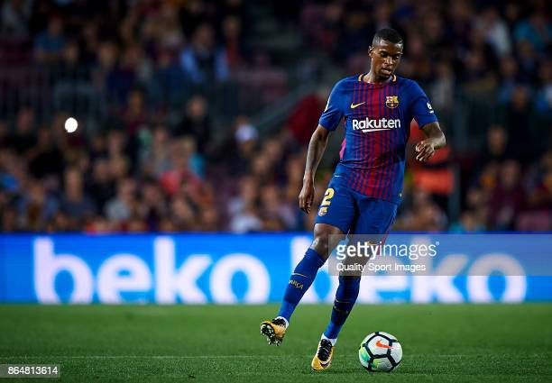 Nelson Semedo of Barcelona in action during the La Liga match between Barcelona and Malaga at Camp Nou on October 21 2017 in Barcelona Spain