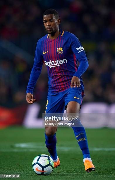 Nelson Semedo of Barcelona in action during the La Liga match between Barcelona and Girona at Camp Nou on February 24 2018 in Barcelona Spain