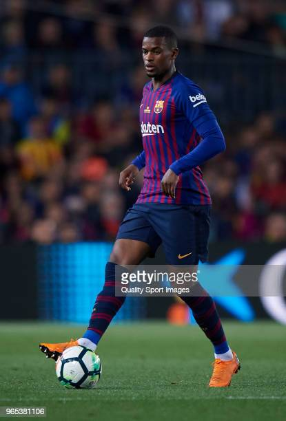 Nelson Semedo of Barcelona in action during the La Liga match between Barcelona and Real Sociedad at Camp Nou on May 20 2018 in Barcelona Spain