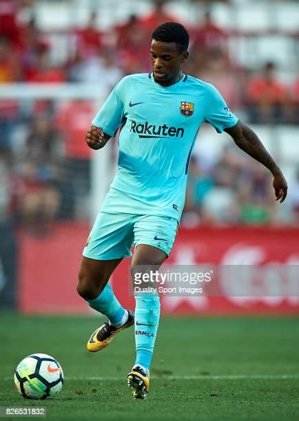 Nelson Semedo of Barcelona in action during the preseason friendly match between Gimnastic de Tarragona and FC Barcelona at Nou Estadi de Tarragona...