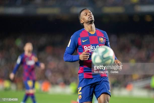 Nelson Semedo of Barcelona reacts after failing to reach a through ball during the Barcelona V Real Sociedad La Liga regular season match at Estadio...