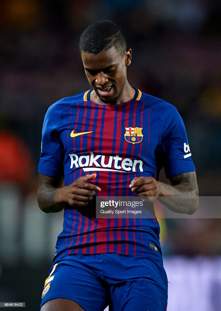 Nelson Semedo of Barcelona reacts during the La Liga match between Barcelona and Malaga at Camp Nou on October 21, 2017 in Barcelona, Spain.