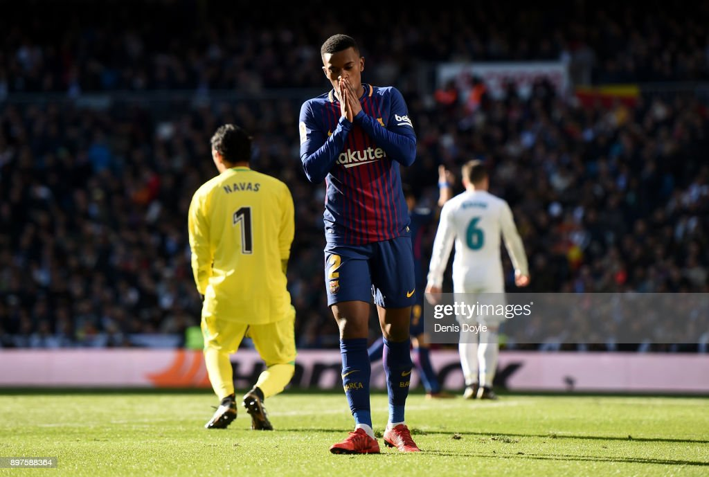 Nelson Semedo of Barcelona reacts during the La Liga match between Real Madrid and Barcelona at Estadio Santiago Bernabeu on December 23, 2017 in Madrid, Spain.