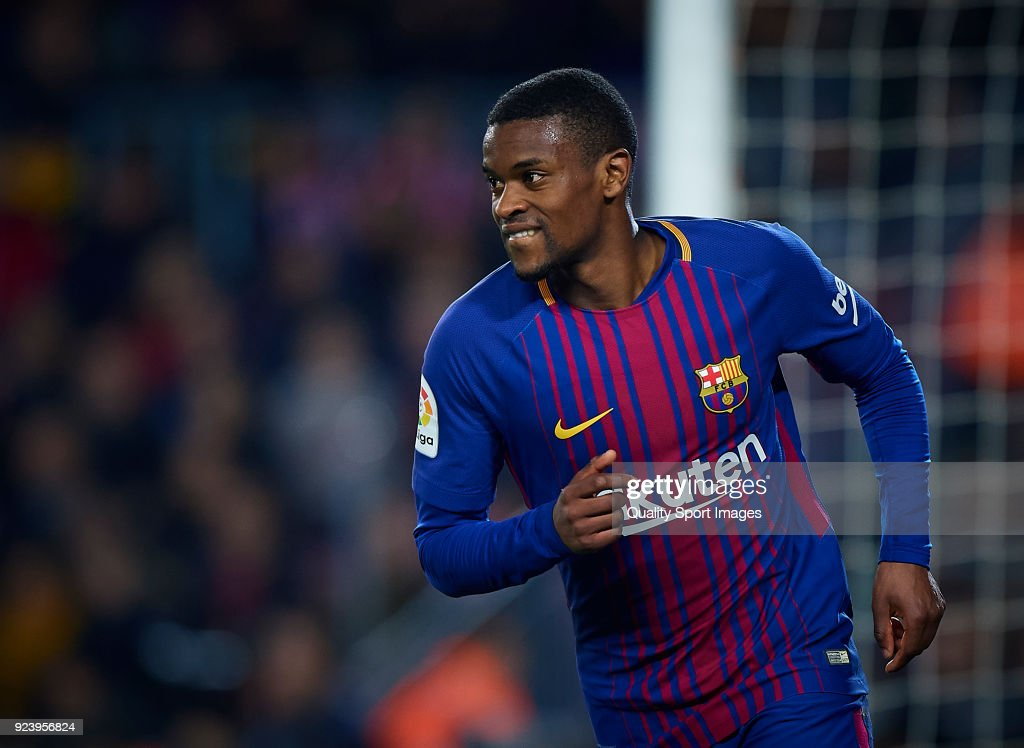 Nelson Semedo of Barcelona reacts during the La Liga match between Barcelona and Girona at Camp Nou on February 24, 2018 in Barcelona, Spain.
