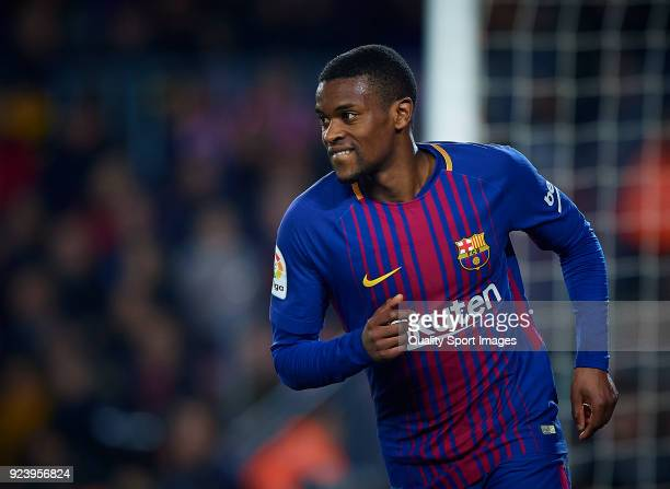 Nelson Semedo of Barcelona reacts during the La Liga match between Barcelona and Girona at Camp Nou on February 24 2018 in Barcelona Spain