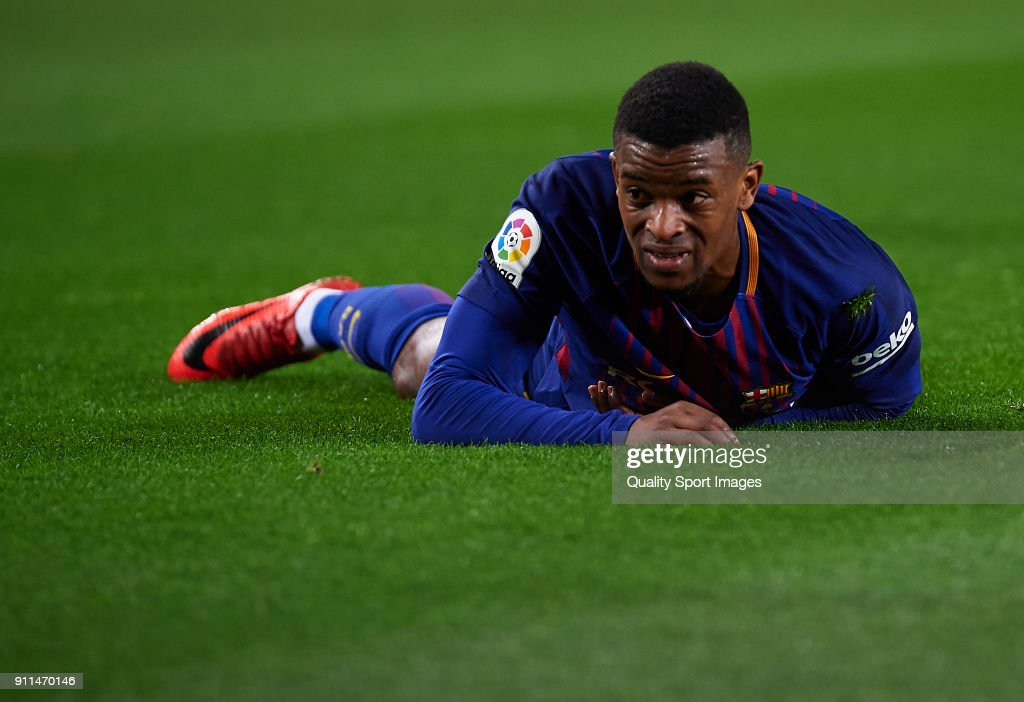 Nelson Semedo of Barcelona reacts on the pitch during the La Liga match between Barcelona and Deportivo Alaves at Camp Nou on January 28, 2018 in Barcelona, Spain.