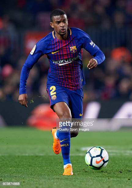 Nelson Semedo of Barcelona runs with the ball during the La Liga match between Barcelona and Girona at Camp Nou on February 24 2018 in Barcelona Spain