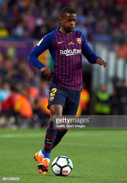 Nelson Semedo of Barcelona runs with the ball during the La Liga match between Barcelona and Real Sociedad at Camp Nou on May 20 2018 in Barcelona...
