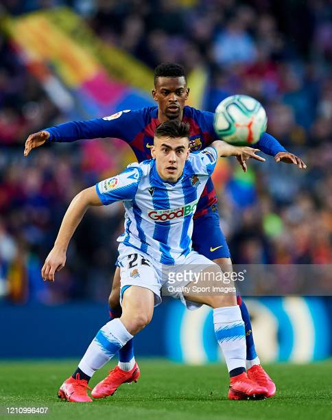 Nelson Semedo of FC Barcelona competes for the ball with Ander Barrenetxea of Real Sociedad during the Liga match between FC Barcelona and Real...