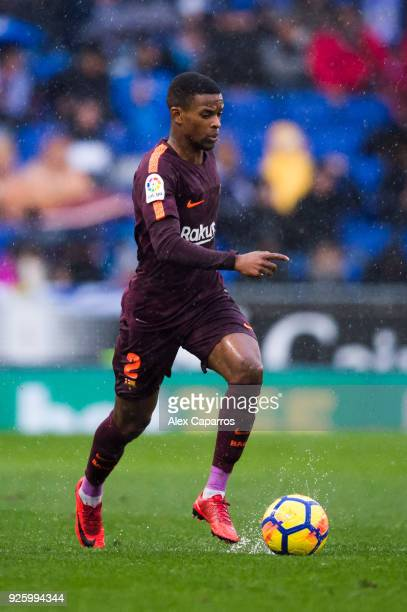Nelson Semedo of FC Barcelona conducts the ball during the La Liga match between Espanyol and Barcelona at RCDE Stadium on February 4 2018 in...