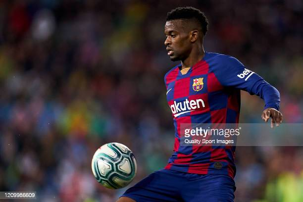 Nelson Semedo of FC Barcelona controls a ball during the Liga match between Real Madrid CF and FC Barcelona at Estadio Santiago Bernabeu on March 01...