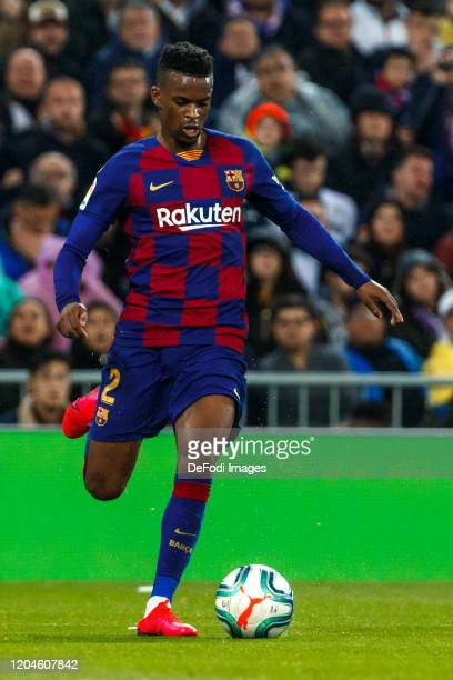 Nelson Semedo of FC Barcelona controls the ball during the Liga match between Real Madrid CF and FC Barcelona at Estadio Santiago Bernabeu on March 1...
