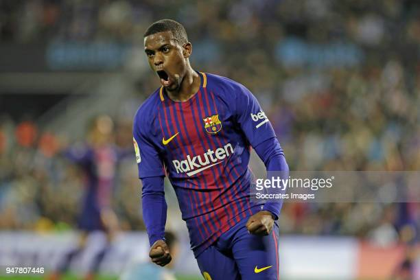 Nelson Semedo of FC Barcelona during the La Liga Santander match between Celta de Vigo v FC Barcelona at the Estadio de Balaidos on April 17 2018 in...