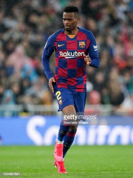 Nelson Semedo of FC Barcelona during the La Liga Santander match between Real Madrid v FC Barcelona at the Santiago Bernabeu on March 1 2020 in...